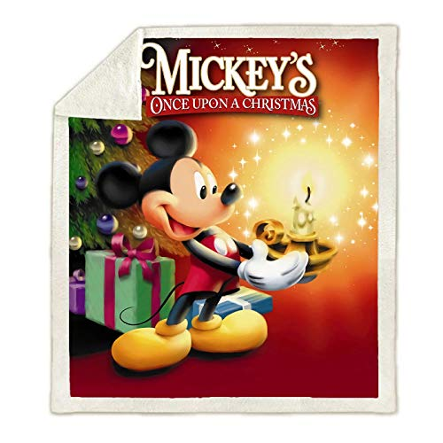 fgbv Manta de Tiro Suave de Dibujos Animados de Navidad Minnie Mickey Mouse 150X200Cm, Respaldo de Sherpa niños niñas niños sofá Cama
