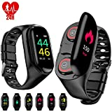 M1 Fitness Tracker with Earbuds, Smart Bracelet with Headphone 2 in 1 Smart Watch with Earphones Heart Rate Blood Pressure Sleep Monitor- Black