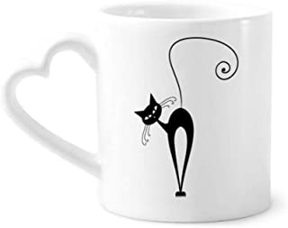 Tilt Head Black Cat Halloween Animal Silhouette Coffee Mugs Pottery Ceramic Cup With Heart Handle 12oz Gift