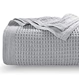 Bedsure 100% Cotton Thermal Blanket - 405GSM Premium Breathable Blanket in Waffle Weave for Home...