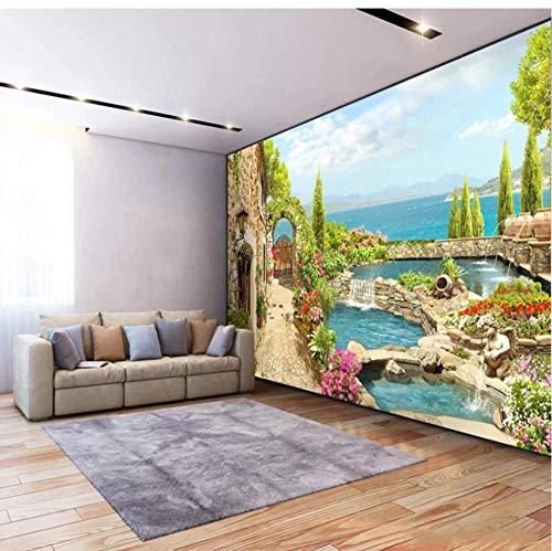 Papel tapiz mural 3D jardín lago paisaje pintura de pared sala de estar TV sofá comedor telón de fondo decoración de pared papel tapiz fotográfico-S