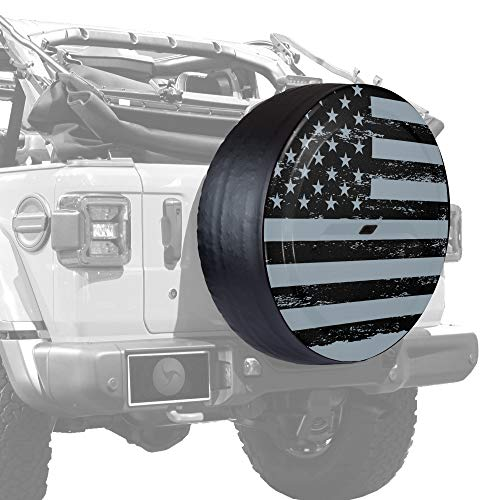 "Boomerang - 32"" Rigid JL Tire Cover - (Hard Plastic Face & Vinyl Band) for Jeep Wrangler JL (with Back-up Camera) - Black Out American Flag"