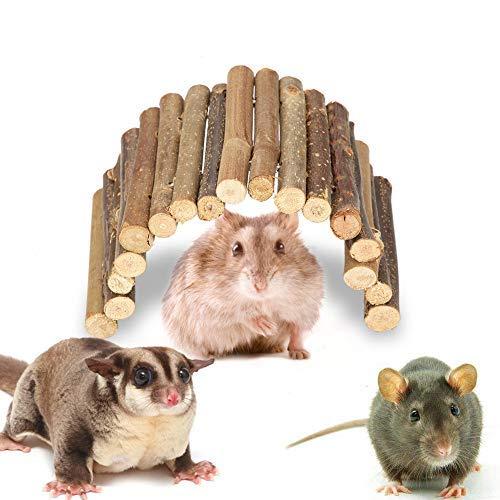 Puente de hámster Puente de Escalera de Madera Escondite de Animales pequeños Roedores Juguete masticable Jaula para Mascotas Decoración para Conejillo de Indias (S)