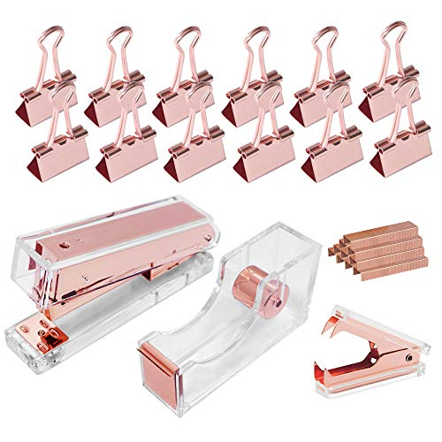 MultiBey Rose Gold Acrylic Office Desk Supplies Set of Stapler, Tape Dispenser, Staple Remover, Staple Remover, Rose Gold Staples, 12 Pcs Binder Clips