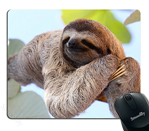 Smooffly Happy Sloth Mouse Pad,Funny Sloth in Costa Rica's Manuel Antonio Park Customized Rectangle Non-Slip Rubber Mousepad