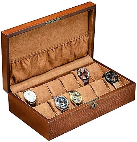 WSZYBAY Reloj Box / 12 Reloj Caja de Almacenamiento de Joyas/Hecho a Mano, Cerradura Hermosa, Reloj de Madera Almacenamiento y Almohada Desmontable