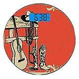 Pèse-personne numérique de précision Ronde Occidental Dimensions précises de poids de la balance de salle de bains en verre trempé ultra mince,Image de Wild West Elements avec guitare country et botte