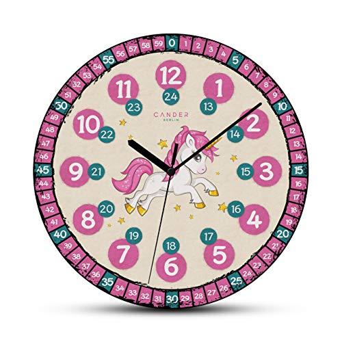 Cander Berlin MNU 7630 Kinderwanduhr Einhorn lautlos 30,5 cm geräuschlos MDF Lernuhr Lernzifferblatt pink - Ablesen der Uhrzeit Lernen