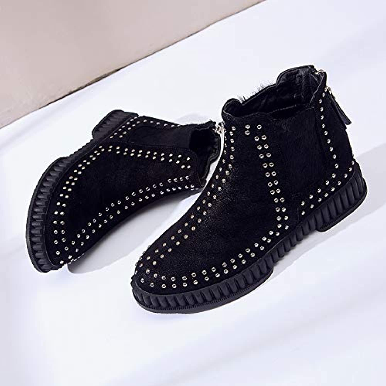 HOESCZS Damenschuhe New Martin Stiefel Weiblich Chelsea Stiefel Kurze Kurze Stiefel Wild Students Flat Winter Damenschuhe  viele überraschungen