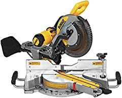 "Your purchase includes: 1 CDEWALT DWS779 sliding compound cord miter saw, 12-inch, carbide blade, 1 blade wrench Tool dimensions: 17"" H x 24.75"" L. Tool weight: 56 pounds; Maximum cutting thickness: 6.75 inch Other specifications: 15 Amps, 12"" blade ..."