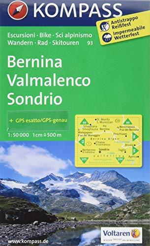 Bernina - Valmalenco - Sondrio: Wanderkarte mit Radrouten und alpinen Skirouten. GPS-genau. 1:50000.: Wandelkaart 1:50 000 (KOMPASS-Wanderkarten, Band 93)