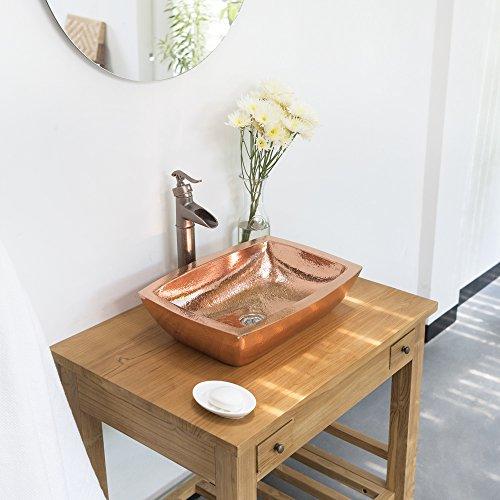 wohnfreuden Kupfer Waschbecken recht-eckig 50x35x12 cm Bad Gäste WC
