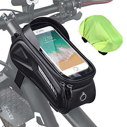 HASAGEI Bolsa bicicleta cuadro , soporte para teléfono móvil, resistente al agua, accesorios para bicicleta, bolsa para marco de bicicleta, para smartphone de menos de 7 pulgada