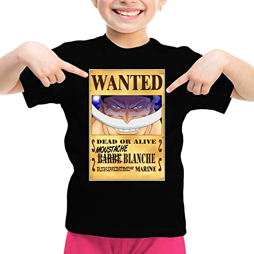 T-Shirt Enfant Fille Noir One Piece parodique Edward Newgate - Barbe Blanche : Le Wanted Secret. : (Parodie One Piece)
