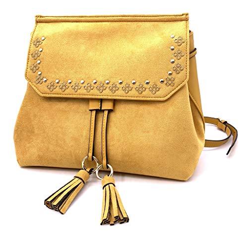 Angkorly - Handtasche Rucksack Mini crossbody Tasche Tote bag Bommel Fransen Nieten-Besetzt Vintage/Retro BCBG nüchtern für jeden Tag Damen trend tasche elegante Geschenkidee A2163-2 Jaune