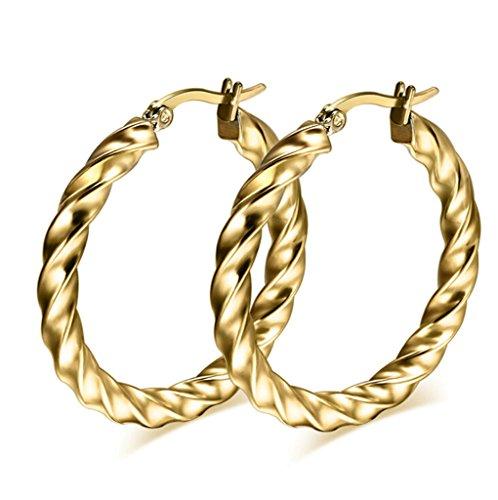 Beydodo Acero Inoxidable Pendientes de Aro de Mujer Forma Círculo Onda Oro Pendientes Para Mujer