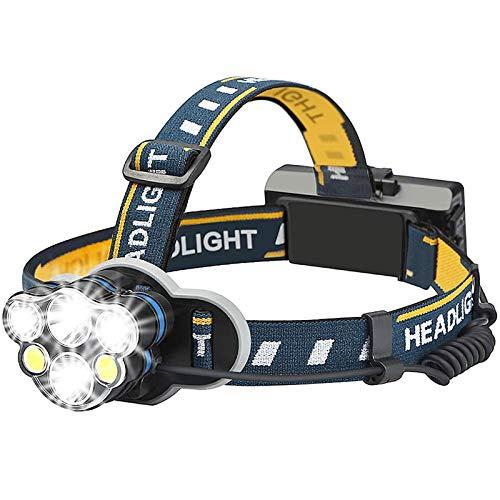 Jasonwell Linterna LED Frontal Lámpara Led Lámpara de cabeza Lámpara Led Recargable Lámpara Minero Impermeable Headlamp 8 Modos Súper Ligera Lámpara 6 Led con Luz Roja Trasera