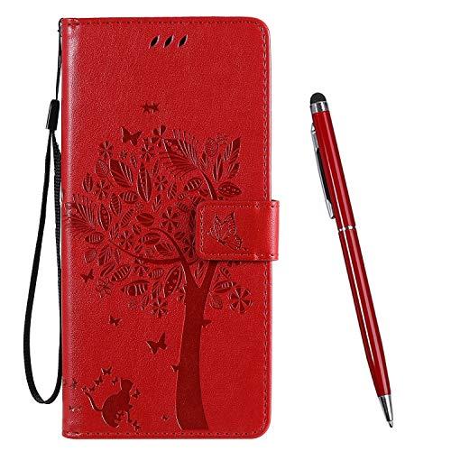 TOUCASA für Nokia 2.3 Hülle,Handyhülle für Nokia 2.3,Brieftasche PU Leder Flip [Prägung] Embossing Case Magnetverschluss Handytasche Klapphülle (Rot)