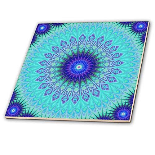 3DROSE 동결된 만다라 블루 추상 디자인 장식 타일 12인치 세라믹 다색