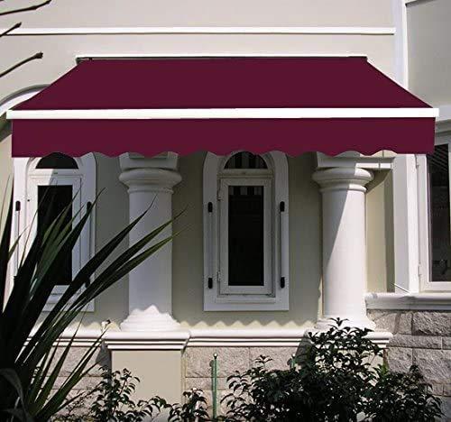 Toldo retráctil manual para patio, color verde y blanco con accesorios y mango de manivela, nombre de tamaño: 3 x 2,5 m, nombre de color: toldo (color: toldo rojo vino, tamaño: 2 x 1,5 m)