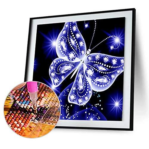 CIDZA Pintura digital de diamantes 5D luminosa de resina de diamante de la serie de arte de la mariposa 30 x 30 cm