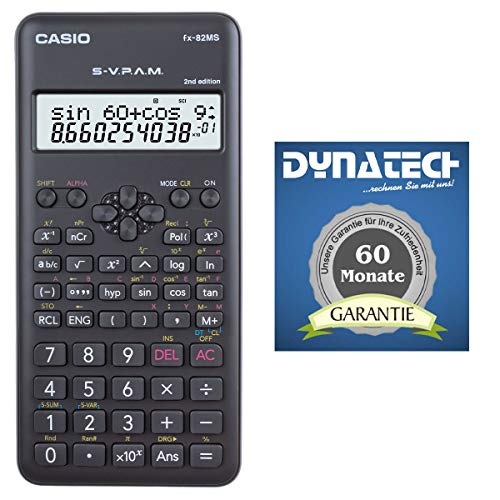 Casio Taschenrechner FX-82 MS 2nd Tischrechner Garantie auf 60 Monate - kompatibler wissenschaftlicher Schulrechner Nicht programmierbar elektronisches Display Batterie 240 Funktionen für Gymnasium