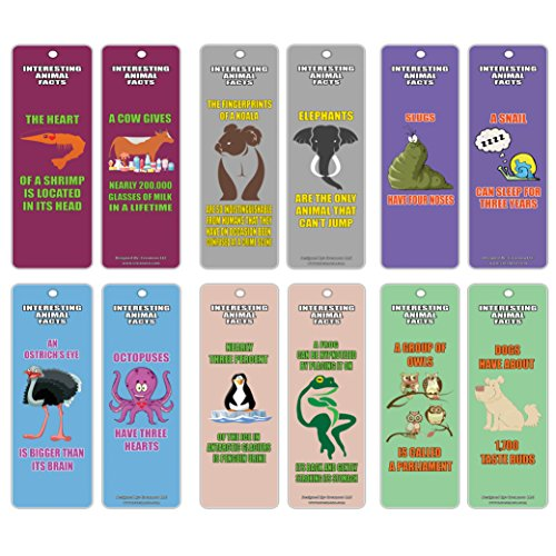Creanoso Reading Learning Fun Animal Facts Series 1 Bookmark Cards (60-Pack) – Inspirational Learning Animals Set – Great Reading Collection Bookmarker Cards for Boys, Girls, Teens, Young Readers