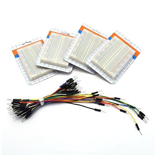 ZYAMY 4pcs 400 Tie Point Prototype Solderless PCB Breadboard Test Protoboard DIY Bread Board with Self-Adhesive Tape + 65pcs Jumper Wires