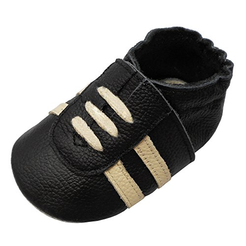 YIHAKIDS Weicher Leder Lauflernschuhe Krabbelschuhe Babyhausschuhe Turnschuh Sneakers mit Wildledersohlen(Schwarz,12-18 Monate,23 EU)