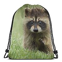 ハッピーイースター巾着袋、かわいいベビーラクーントートバックパック大人用サックパック旅行用ジムサックバッグビーチトイレタリー収納バッグ