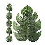 Firoya - Juego de 6 salvamanteles Individuales con Forma de Hoja de Tortuga para Desayuno, Color Verde