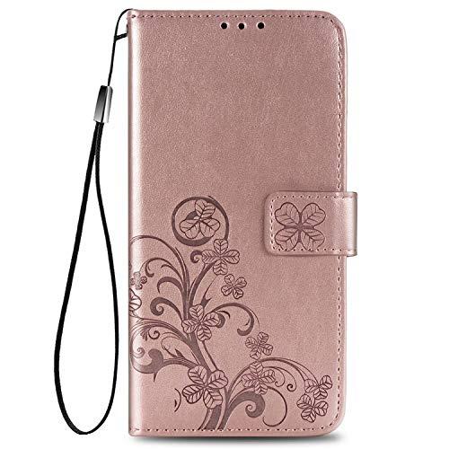 Wuzixi Hülle für ZTE Axon 20 4G. [Kartenfach] PU Leder Flip Wallet, mit Standfunktion, Schutzhülle handyhüllen für ZTE Axon 20 4G.Roségold