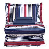 EMME Bed in A Bag Twin Comforter Set 5-Piece Bedding Luxurious Brushed Microfiber Goose Down Alternative Comforter Soft and Comfortable Machine Washable (Twin/Twin XL, Navy & Red Stripe)