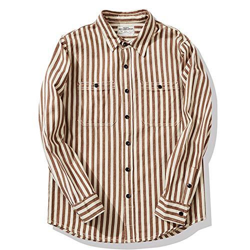 Camisa de Manga Larga para Hombre, Estilo Retro a Rayas, Ropa de Calle a Juego, Tendencia de Moda, Informal, Todo fósforo, cómoda Camisa de Solapa Simple M