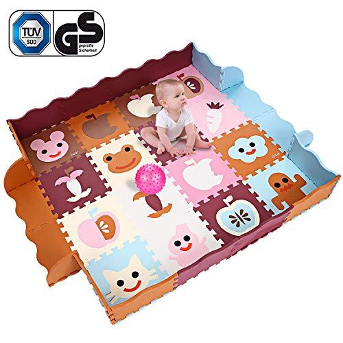 Bunao Puzzlematte Baby Spielteppich Lernteppich Ungiftig Geruchlos Eva-Schaumstoff Puzzleteppich Schutzmatte 40 PCS (Type4)