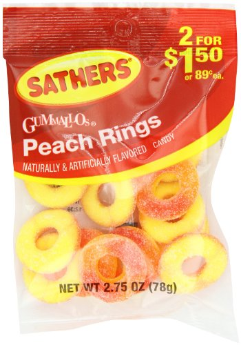 Farley#039s amp Sathers Candy Peach Rings 275 Ounce Pack of 12