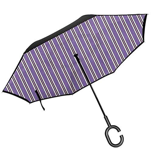 Geometric Folding Reverse Umbrella Vertical Striped Pattern in Lavender Tones Geometric Classic Design Reverse Folding Umbrellas Windproof UV Protection