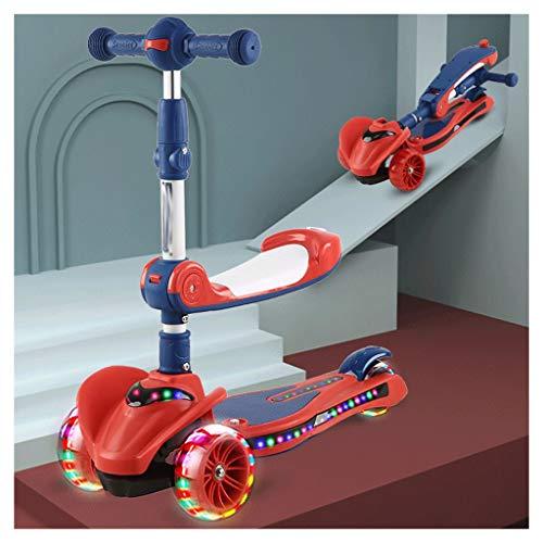 Scooter Puede sentarse y montar scooter para niños - altura ajustable con cubierta extra de ancho PU, llantas que parpadea, excelente scooter y scooter de niños pequeños 3-12 Patinetes ( Color : Red )