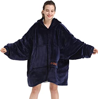 SLEPZON Oversized Sweatshirt Blanket, Sherpa Hoodie Blanket for Adults Men and Women, Wearable Throw Blanket with Sleeves and Pockets, Navy