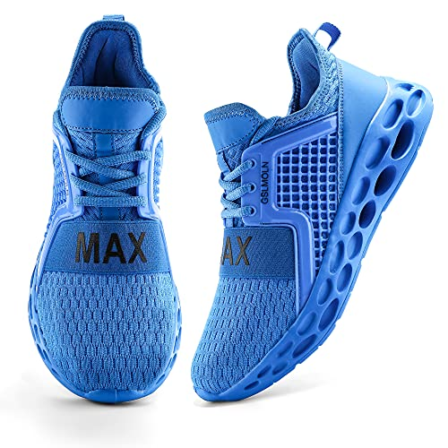 Jakcuz Zapatillas de correr para hombre y mujer, zapatillas de deporte, para correr, para el tiempo libre, senderismo, trailrunning y fitness., azul, 42 EU