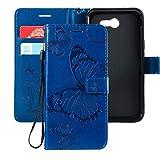 Ropigo Emboss 3D Butterfly Wallet Case for Samsung Galaxy J7 2017/ J7 V/ J7 Prime/ J7 Perx/ J7 Sky Pro/Halo Flip Leather Protective Case with Wrist Strap and Credit Card Slots Holder Blue