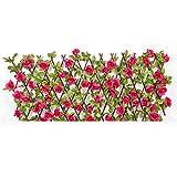 Wangduodu Enrejado de jardín de seto de Vallas Artificial con Hojas de Flores Vallas de jardín expansiva Pantalla de privacidad de jardín para Balcones Patios Escaleras Paredes
