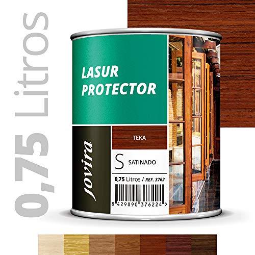LASUR PROTECTOR SATINADO EXTERIOR Protege la madera,Baniz lasur satinado decora y embellece todo tipo de madera (750 ml, TEKA)