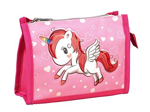 STEFANO Kinder Reisegepäck Einhorn Unicorn Set Pink mit Regenbogen für Mädchen (Waschtasche)