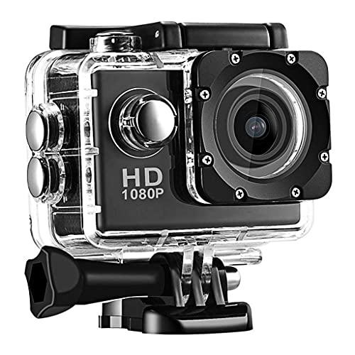 KDMB Videocamera Digitale Action Camera, Schermo LCD 1080P da 2 Pollici, videocamera Sportiva Impermeabile con Obiettivo grandangolare da 170 Gradi, videocamera Sportiva DV da 30 m con (Nero)