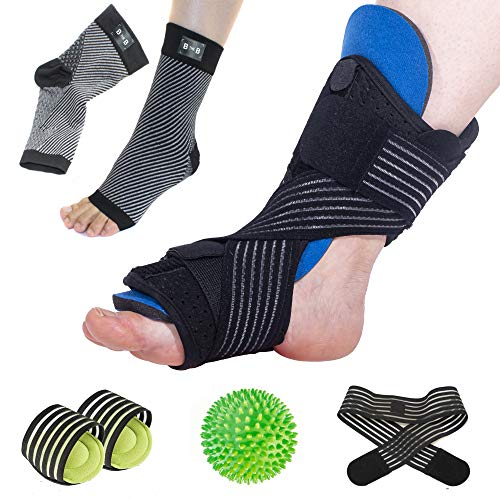 Plantar Fasciitis Night Splint Set – 6-Piece Kit w/ Adjustable Plantar Fasciitis Splint, Acupressure Massage Ball, 2 Arch Supports, 2 Compression Sleeves – Complete Planter Fasciitis Support Relief