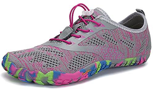 SAGUARO Barfußschuhe Damen Herren Zehenschuhe Traillaufschuhe Weich Bequem Barfussschuhe Fitnessschuhe Männer Frauen Trainingsschuhe für Joggen Laufen Wandern, Rouge Pink, 38