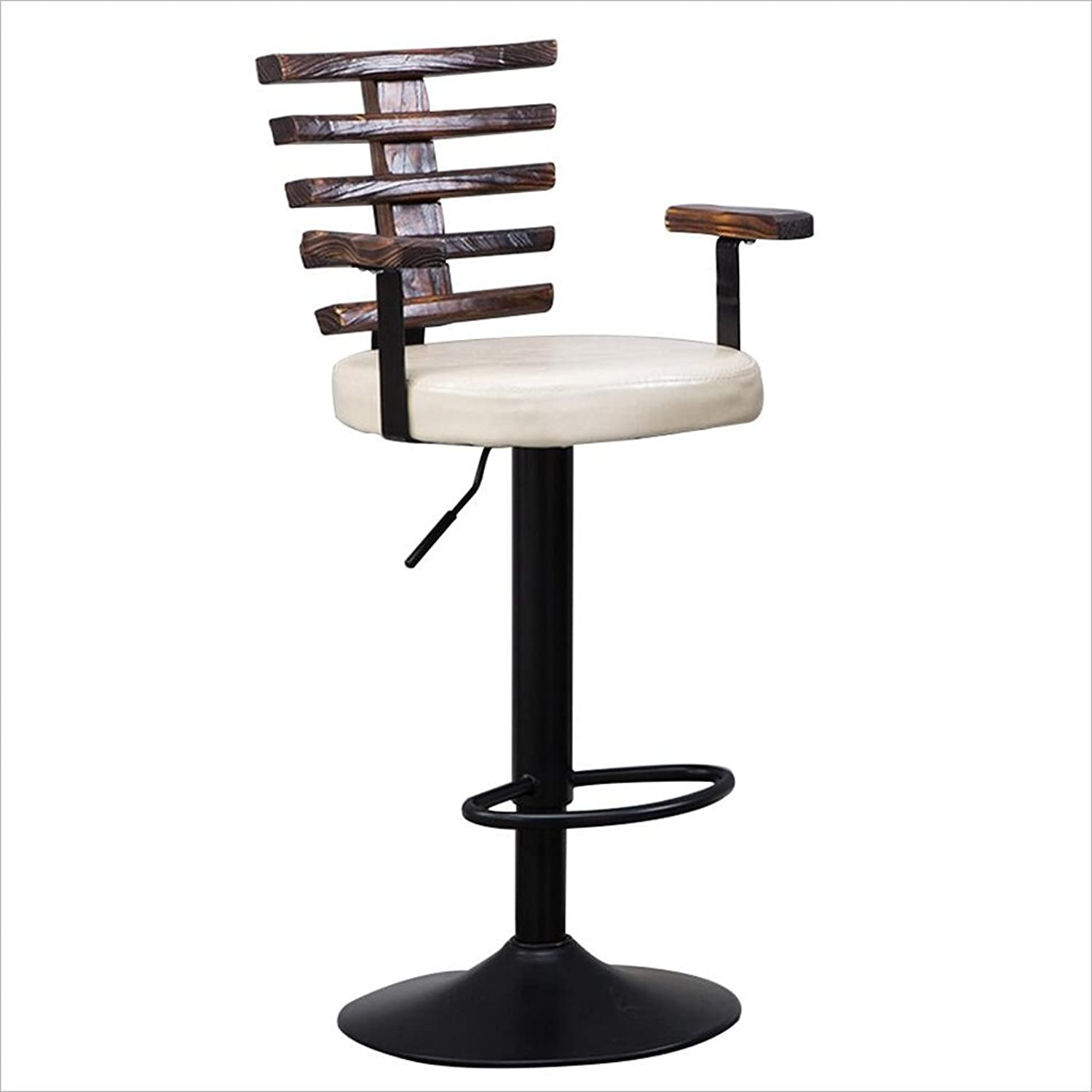 Bar Chairs, Round Stool High Stool Dining Chair Iron Chair Height Adjustable 95115Cm Retro Style,White