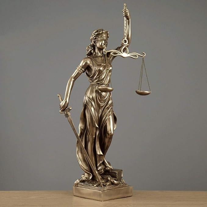 Estatua de Justicia Ciega Doblada Ciega En Bronce Fundido - Diosa Romana De La Justicia Escultura Llevando Las Escalas De Justicia Y Swor (Tamaño : L16×H30.5CM): Amazon.es: Hogar