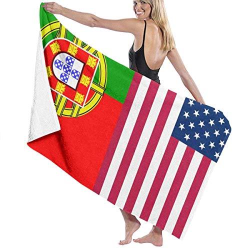 Olie Cam Toallas de baño Grandes, Suaves y cómodas, súper absorbentes de Secado rápido para Surf en la Playa, natación, SPA, Yoga, Estados Unidos, América, Portugal, Hoja de baño con Bandera